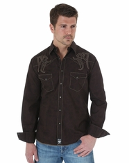 Wrangler Men's Rock 47 Long Sleeve Western Shirt - Brown (Closeout)