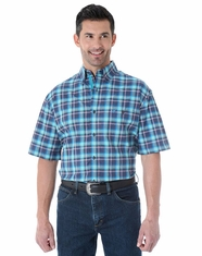 Wrangler Men's Short Sleeve Advanced Comfort Plaid Button Down Shirt - Blue (Closeout)