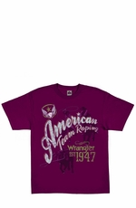 "Wrangler Men's Short Sleeve ""American Team Roping"" Western Tee Shirt - Burgundy (Closeout)"