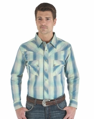 Wrangler Men's Western Long Sleeve Plaid Snap Shirt - Green (Closeout)