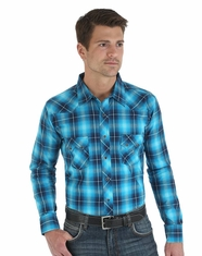 Wrangler Men's Western Long Sleeve Plaid Snap Shirt - Turquoise/Navy