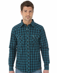 Wrangler Men's Western Plaid Snap Shirt - Turquoise (Closeout)