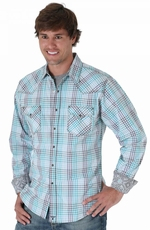 Wrangler Mens 20X Long Sleeve Plaid Snap Western Shirt - Blue