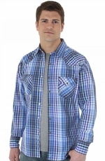 Wrangler Mens 20X Long Sleeve Plaid Snap Western Shirt - Indigo/Navy