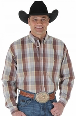Wrangler Mens 20X Plaid Button Down Shirt - Brown/Orange