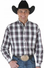 Wrangler Mens 20X Plaid Button Down Shirt - Wine/Black