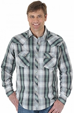Wrangler Mens Fashion Plaid Snap Shirt - Navy/Mint