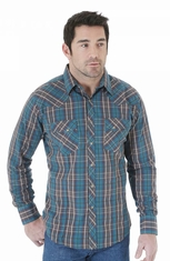 Wrangler Mens Fashion Plaid Snap Western Shirt - Brown/Turquoise (Closeout)