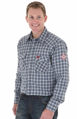 Wrangler Mens FR Long Sleeve Plaid Work Shirt (Closeout)