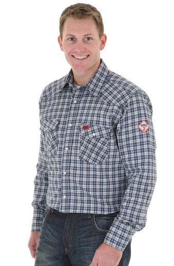 Wrangler Mens FR Long Sleeve Plaid Work Shirt