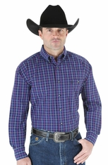Wrangler Mens George Strait Long Sleeve Button Down Western Shirt - Navy/Berry (Closeout)