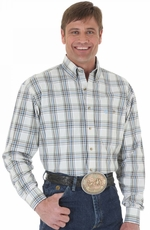 Wrangler Mens George Strait Long Sleeve Plaid Button Down Western Shirt - Brown/Tan