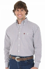 Wrangler Mens George Strait Long Sleeve Plaid Button Down Shirt - Red/Blue