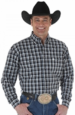 Wrangler Mens George Strait Long Sleeve Plaid Button Down Western Shirt - Black/White