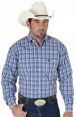 Wrangler Mens George Strait Long Sleeve Poplin Plaid Western Shirt - Navy/Purple/Blue