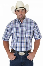 Wrangler Mens George Strait Short Sleeve Poplin Plaid Western Shirt - Navy/Purple/Orange (Closeout)