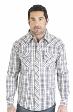 Wrangler Mens Long Sleeve Plaid Snap Western Shirt - Brown/Blue