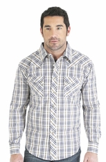 Wrangler Mens Long Sleeve Plaid Snap Western Shirt - Brown/Blue (Closeout)