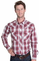 Wrangler Mens Long Sleeve Plaid Snap Western Shirt - Red/Grey/Navy (Closeout)