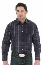 Wrangler Mens Long Sleeve Wrinkle Resist Western Shirt - Black/Navy