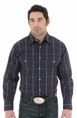 Wrangler Mens Long Sleeve Wrinkle Resist Western Shirt - Black/Navy (Closeout)