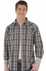 Wrangler Mens Retro Long Sleeve Western Shirt - Brown/Turquoise