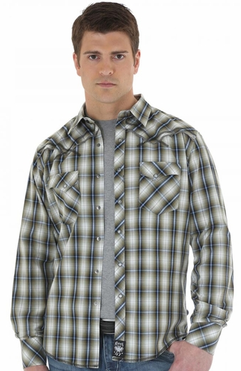 Wrangler Mens Rock 47 Long Sleeve Plaid Snap Western Shirt - Green/White (Closeout)