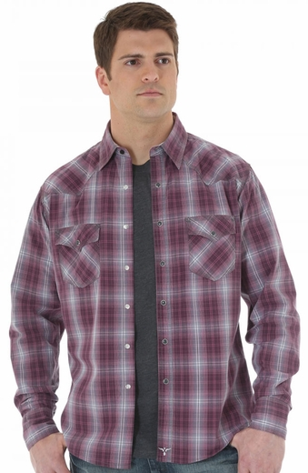 Wrangler Mens 20X Long Sleeve Plaid Snap Western Shirt - Purple
