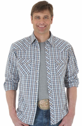Wrangler Mens Fashion Plaid Snap Western Shirt - Blue/Brown