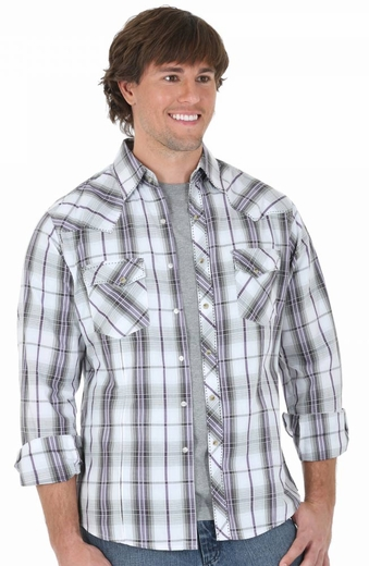 Wrangler Mens Long Sleeve Fashion Plaid Snap Shirt - Purple/White