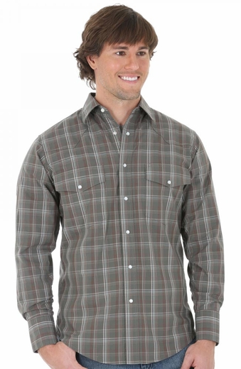 Wrangler Mens Long Sleeve Wrinkle Resist Western Shirt - Dark Green/Burgundy