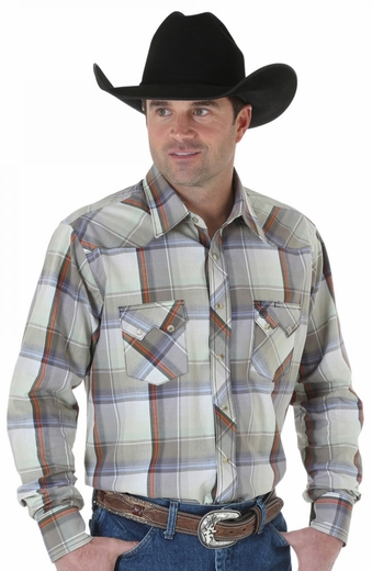 Wrangler Mens Western Plaid Snap Western Shirt - Olive/Grey (Closeout)