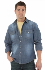 Wrangler Retro Mens Long Sleeve Chambray Snap Western Shirt - Dark Denim
