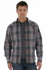 Wrangler Retro Mens Long Sleeve Western Shirt - Charcoal/Red/Olive