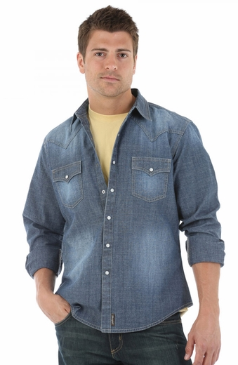 Wrangler Retro Mens Long Sleeve Chambray Snap Western Shirt - Dark Denim (Closeout)