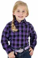 Wrangler Rock 47 Girls Long Sleeve Plaid Snap Western Shirt - Purple (Closeout)