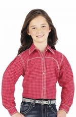 Wrangler Rock 47 Girls Long Sleeve Plaid Western Snap Shirt - Pink