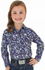 Wrangler Rock 47 Girls Long Sleeve Print Snap Western Shirt - Purple