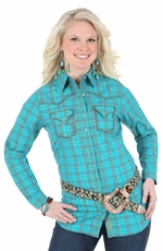 Wrangler Rock 47 Womens Long Sleeve Plaid Western Shirt - Teal