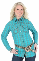 Wrangler Rock 47 Womens Long Sleeve Plaid Western Shirt - Teal (Closeout)