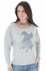 Wrangler Rock 47 Womens Off Shoulder Top - Grey (Closeout)