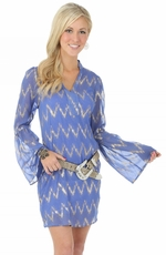 Wrangler Rock 47 Womens Peasant Sleeve Dress- Blue/Gold (Closeout)
