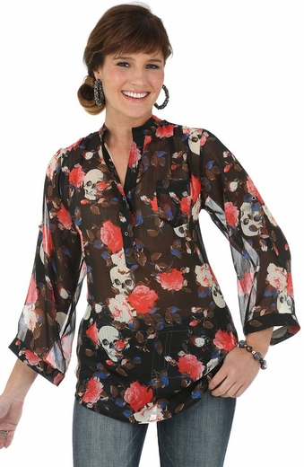 Wrangler Rock 47 Womens Chiffon Print Top - Black Multi (Closeout)