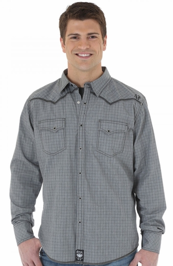 Wrangler Rock 47 Mens Long Sleeve Western Shirt - Grey/Black (Closeout)