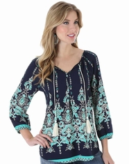 Wrangler Women's 3/4 Sleeve Print Top - Navy