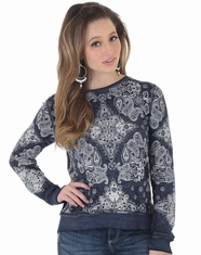 Wrangler Women's Long Sleeve Print Top - Navy