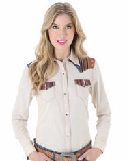 Wrangler Women's Long Sleeve Serape Yoke Western Snap Shirt - Tan