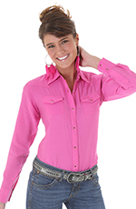 Wrangler Women's Long Sleeve Solid Snap Shirt - Pink