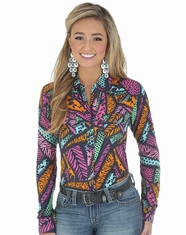 Wrangler Women's Rock 47 Long Sleeve Printed Snap Shirt - Navy