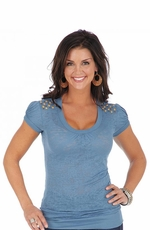 Wrangler Women's Short Sleeve Burnout Tee Shirt with Studs - Blue (Closeout)